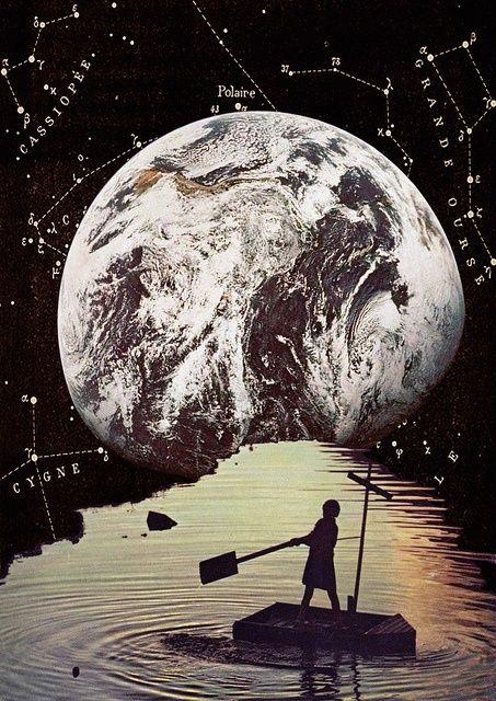 EARTH in the NINTH HOUSE. dit is een Collage. Een collage is een kunstvorm die bestaat uit uitgeknipte stukken papier die op steviger papier of op schildersdoek geplakt zijn. De gebruikte materialen kunnen knipsels uit kranten zijn,maar het kan alle kanten op.(foto's, tekeningen, etc.)