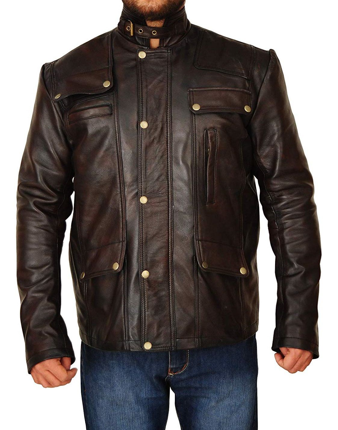 Supernatural Style Distressed Brown Leather Jacket Right Jackets In 2020 Distressed Leather Jacket Brown Leather Jacket Leather Jacket [ 1430 x 1123 Pixel ]
