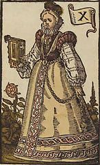 'The Ten of Books', coloured woodcut from Jost Amman's 'Charta lusoria...