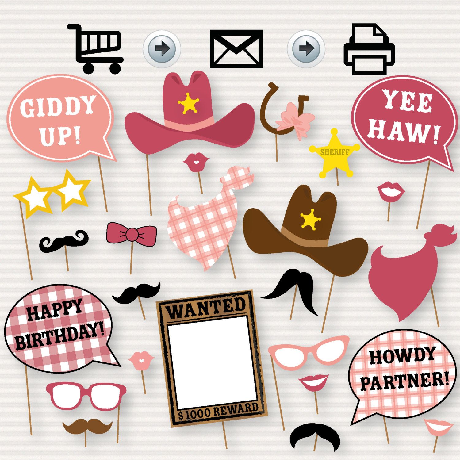 Cowgirl Photo Booth Printable Party Props - Western party, cowgirl, rodeo Photo Booth Props, Shabby Chic, Wanted Printable- INSTANT DOWNLOAD by SurpriseINC on Etsy https://www.etsy.com/listing/399230843/cowgirl-photo-booth-printable-party