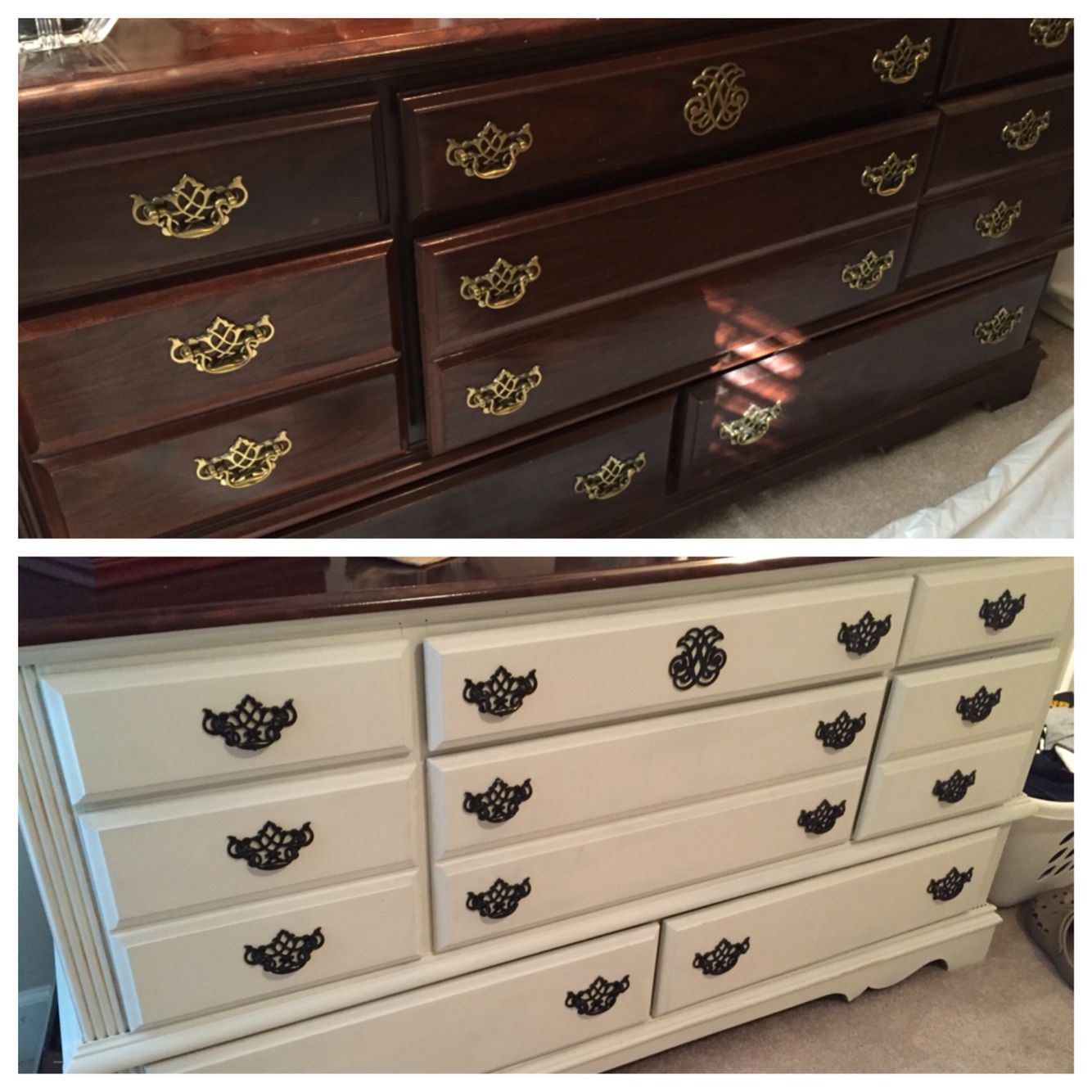 Before And After Furniture Using Valspar Kid Gloves Chalky