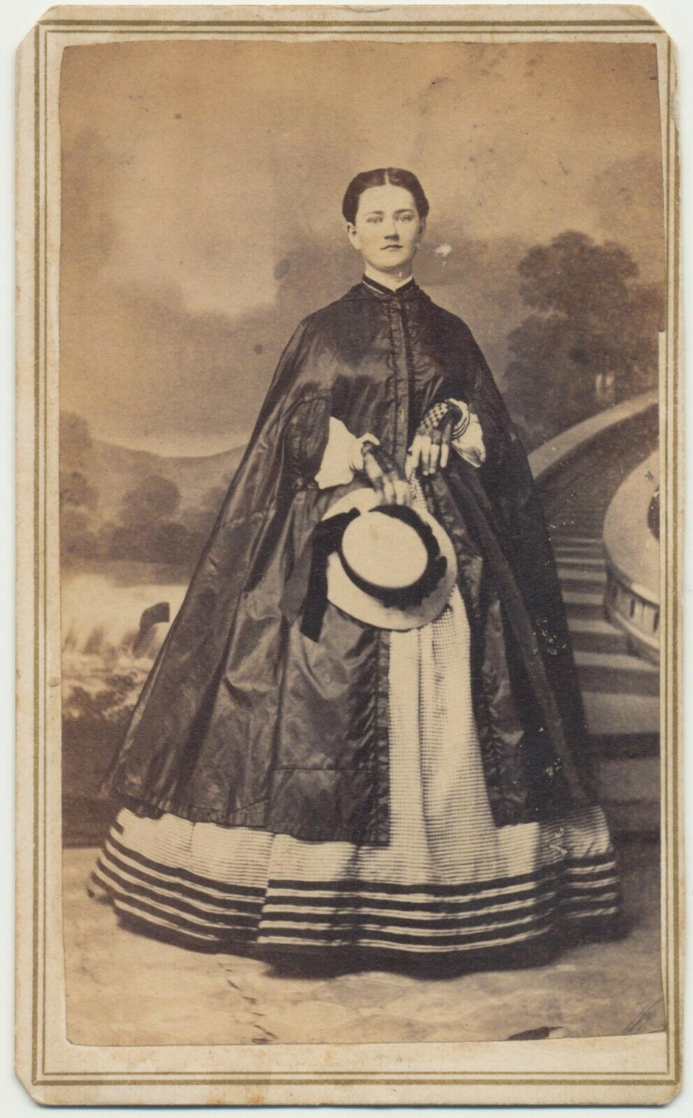 Halloween 2020 In Reding Pa 1860s CDV Full Standing Lady w Hat Magnificent Dress Photo by