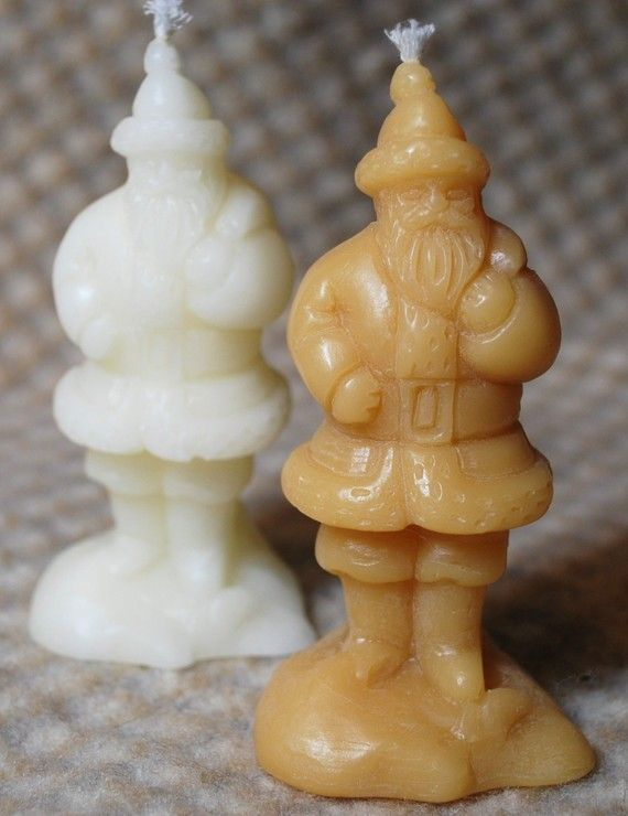 Pure Beeswax Santa Claus Saint Nick Father Christmas Candle White or Natural