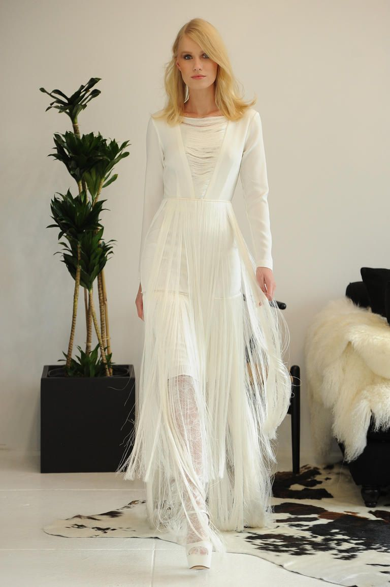 Houghton Modern Bohemian Wedding Dress With Illusion V Neckline Long Sleeves And Horsehair Overlay