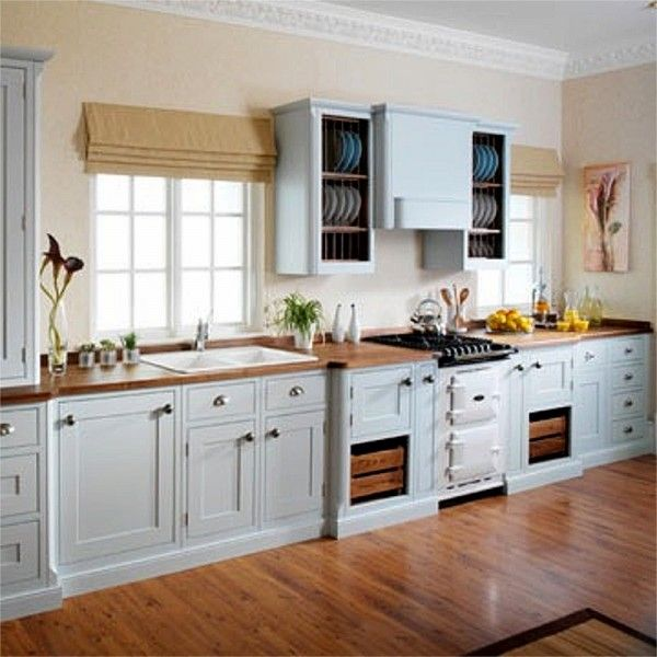 32 Painted Kitchen Wall Designs: Light Grey & Cream Hand-painted In Frame Kitchen Showing