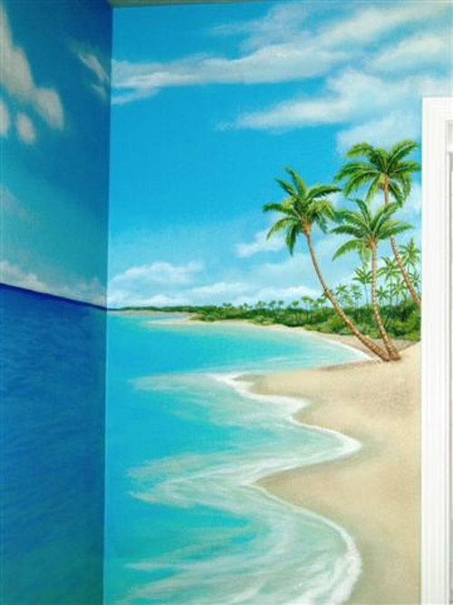 beach themed wall murals bedroom pinterest mural tropical scene ...