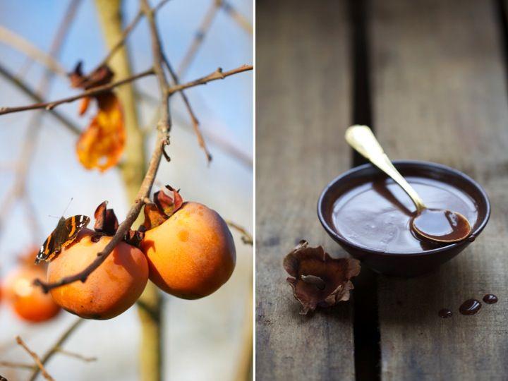 Saveurs Végétales: Kaki tout cru & petite sauce chocolat . cannelle