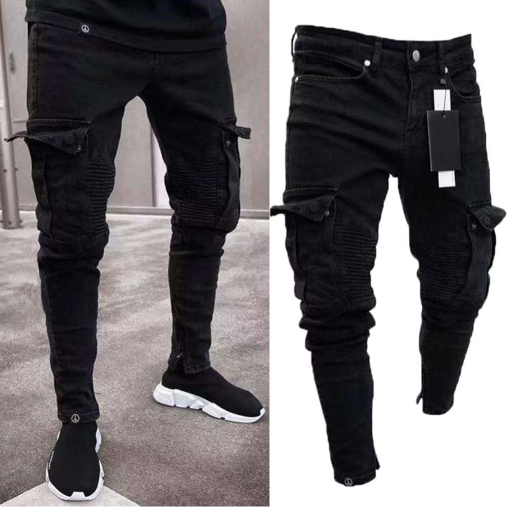 Long Pencil Pants Ripped Jeans Slim Spring Hole Fashion Ecofashionova In 2020 Mens Pants Fashion Slim Fit Mens Jeans Ripped Jeans Men