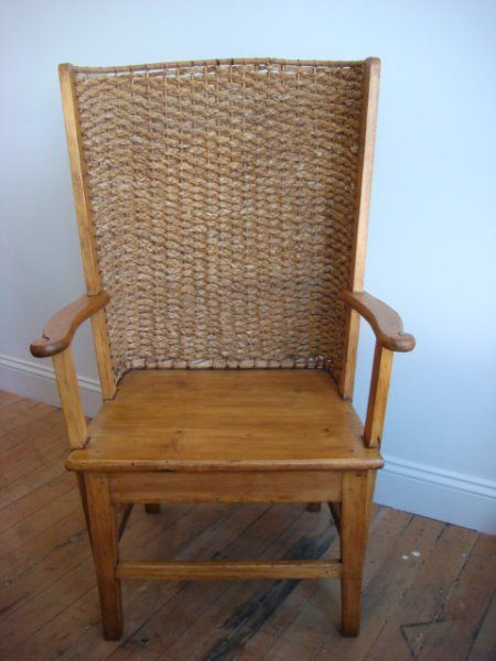 antique orkney chair with pine seat and rush back | scotland c1860 - Antique Orkney Chair With Pine Seat And Rush Back Scotland C1860