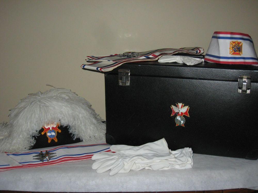 Knights of Columbus K of C 4th Degree Regalia Hat Chapeau Case Gloves Tie Sash B