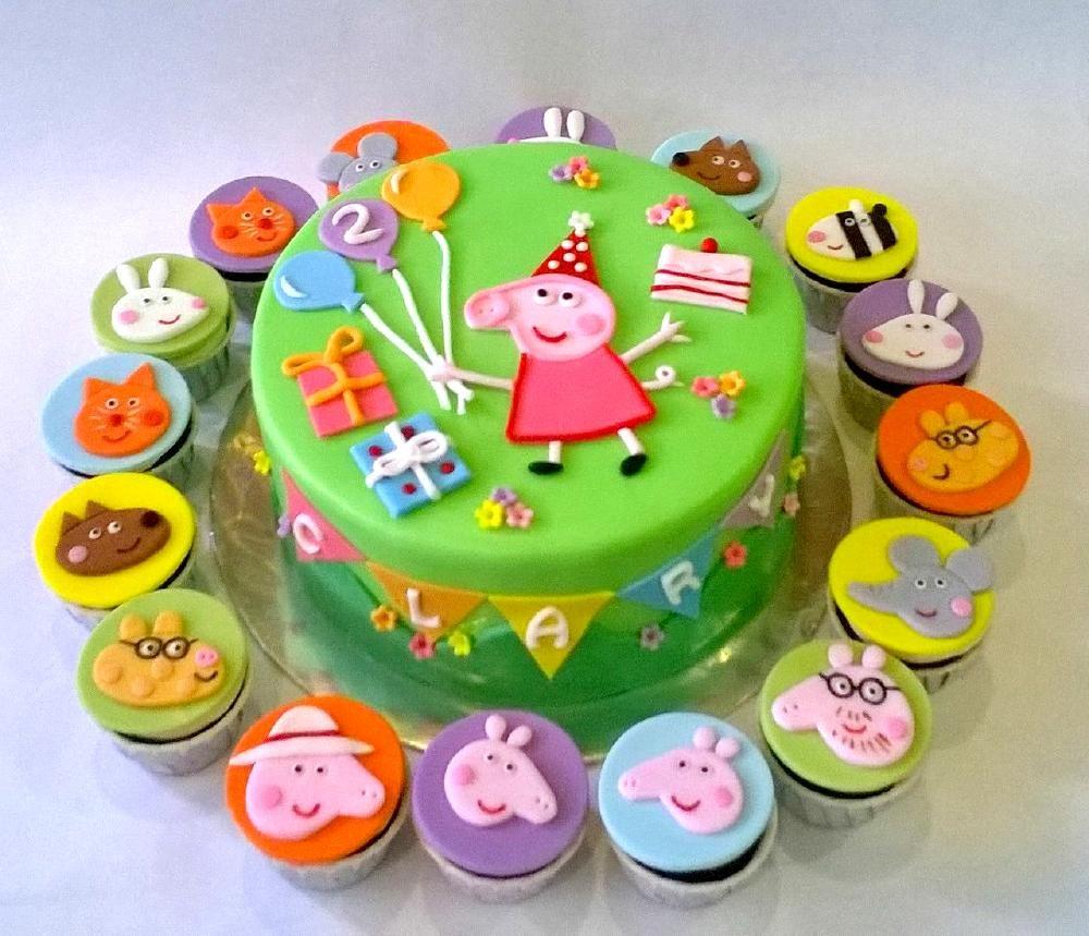 Wondrous Peppa Pig Cake Cupcake Set Peppa Pig Cake Peppa Pig Birthday Personalised Birthday Cards Arneslily Jamesorg