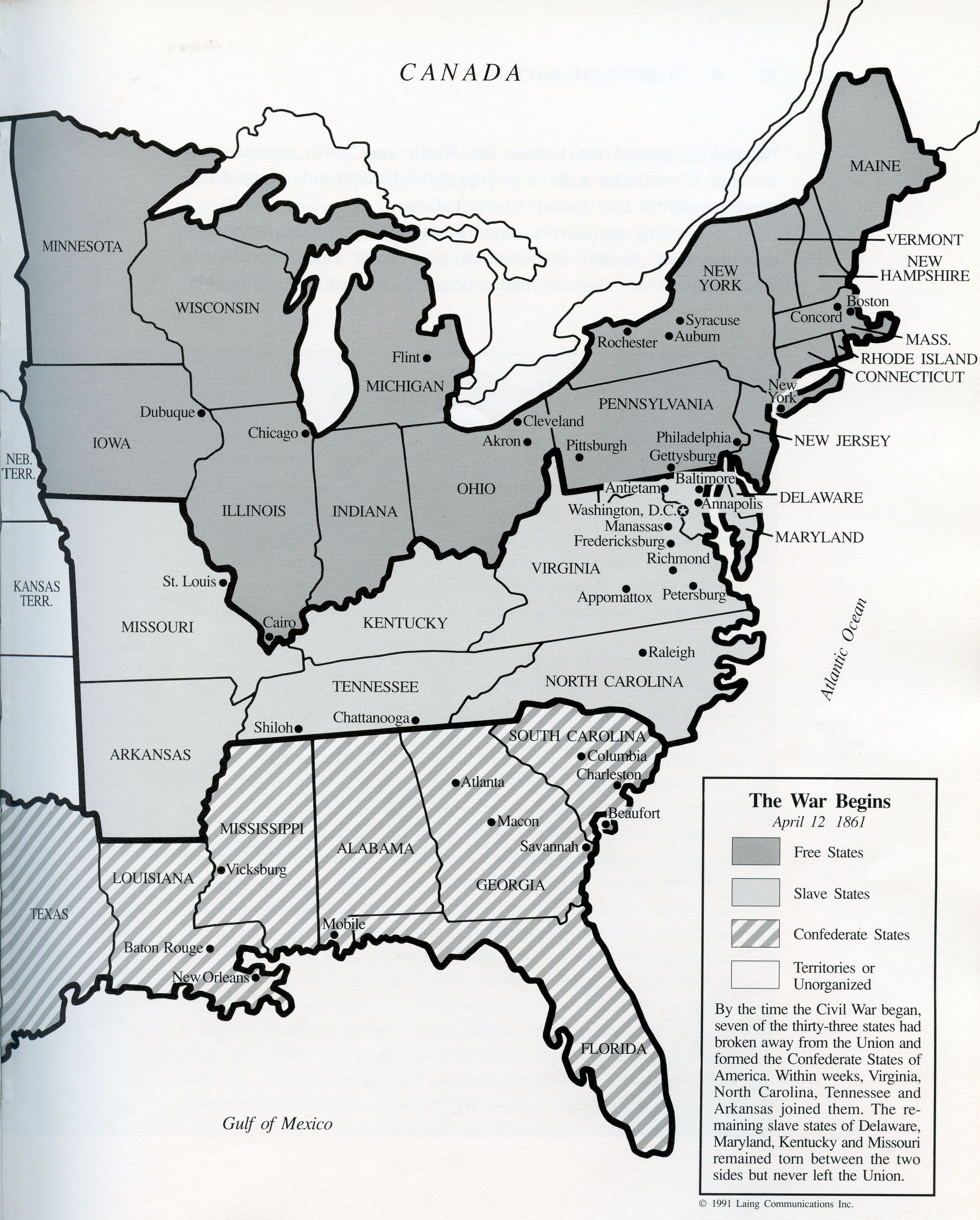 Map Of The United States At The Beginning Of The Civil War