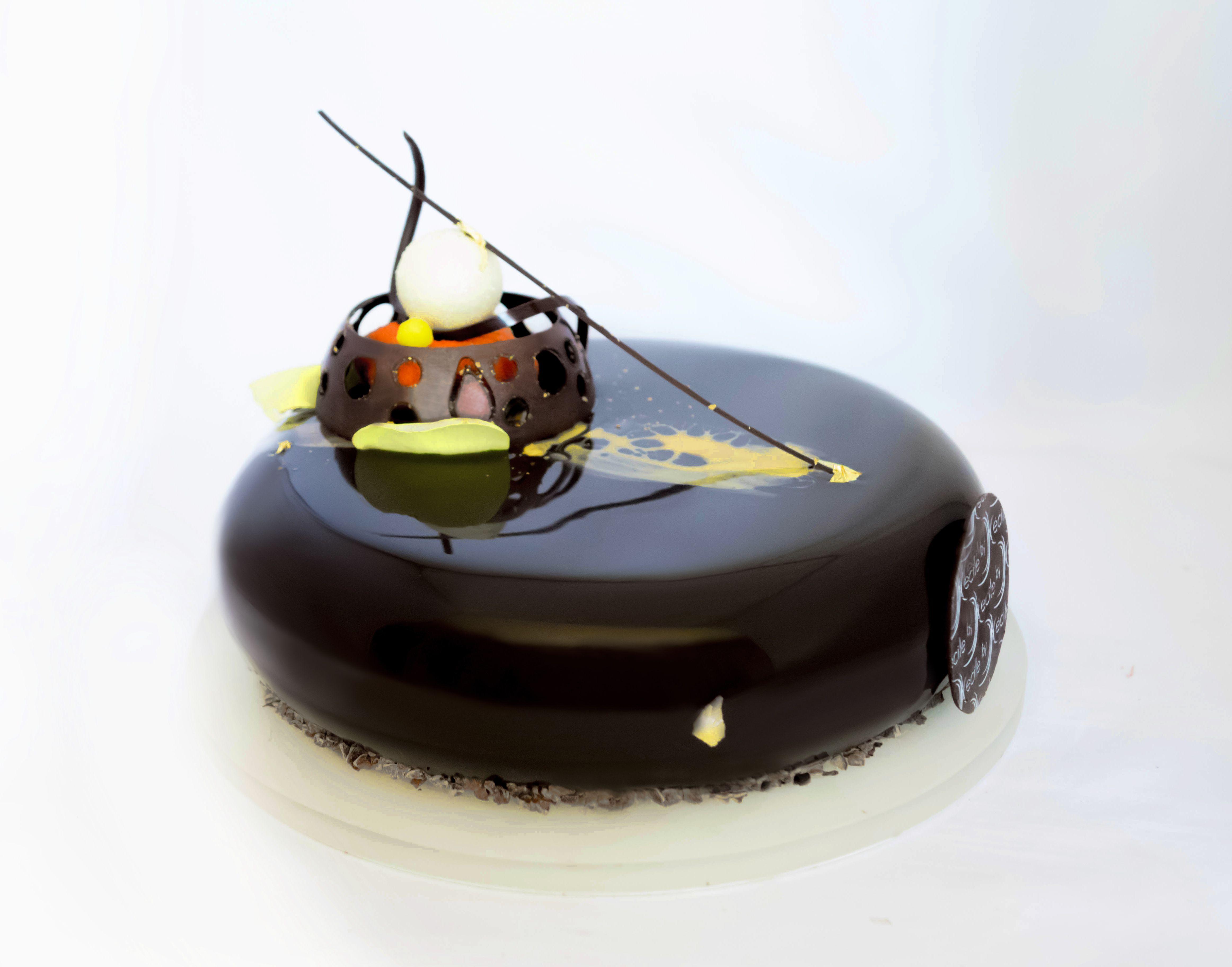 Entremets chocolat orange streusel chocolat noisette for Glacage miroir noir