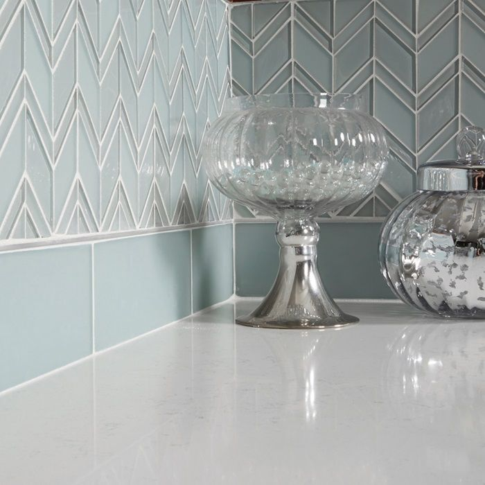 Chevron Glass Tile Backsplash