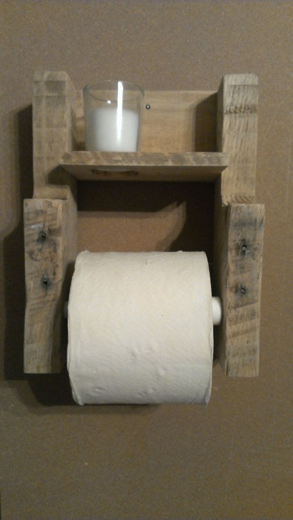 Rustic Pallet Wood Toilet Paper Holder With Candle By Woodhound It Myself Free