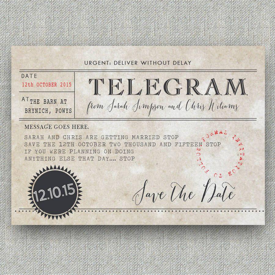 Telegram Save The Date Postcard