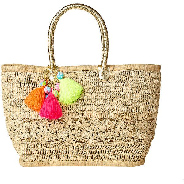 Lilly Pulitzer Riviera Straw Tote Bag ($198) ❤ liked on Polyvore featuring bags, handbags, tote bags, natural, white tote, white tote handbags, white purse, tote handbags and straw purses