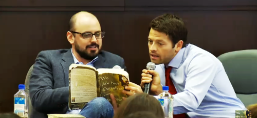 "Misha Collins & Matthew Thomas for ""We are not ourselves"" book club at Barnes & Noble, Sept. 28th, 2014."