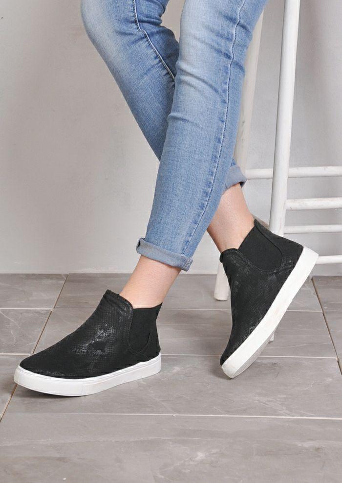 Hi Top Slip On Sneaker Plimsolls Snake Skin Print Black