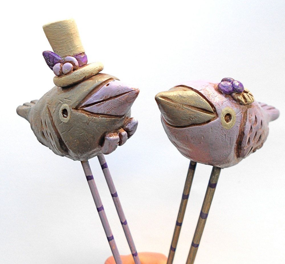 Bird wedding cake topper in lilac gray and purple for the rustic