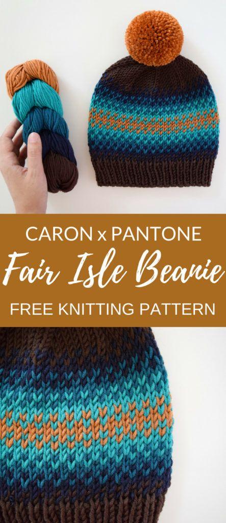 Caron x Pantone Fair Isle Beanie - Free Pattern | knitting ...