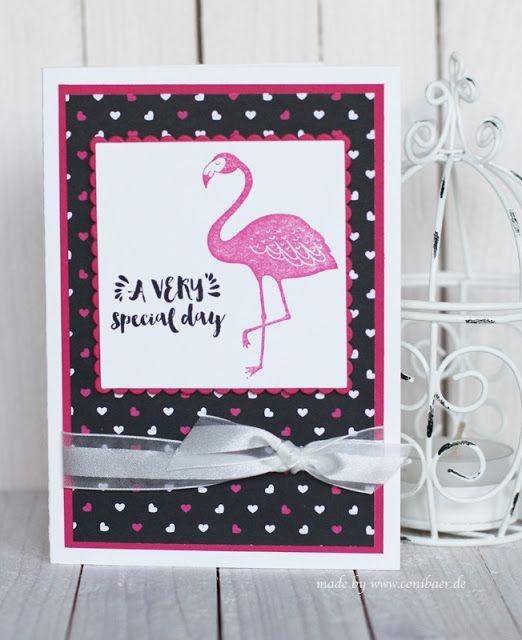 gestempelte karte mit pinkem flamingo stempeln basteln handstamped card. Black Bedroom Furniture Sets. Home Design Ideas