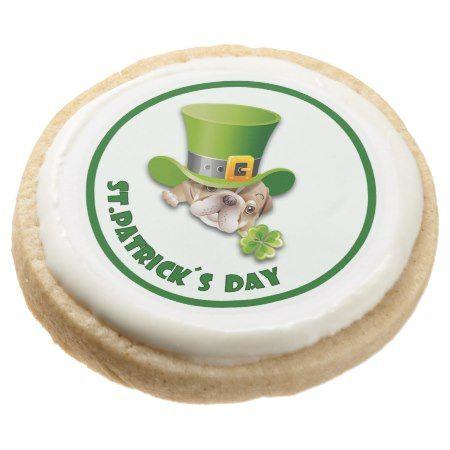 Funny Bulldog St. Patrick's Day Gift Cookies | Zazzle.com #funnybulldog