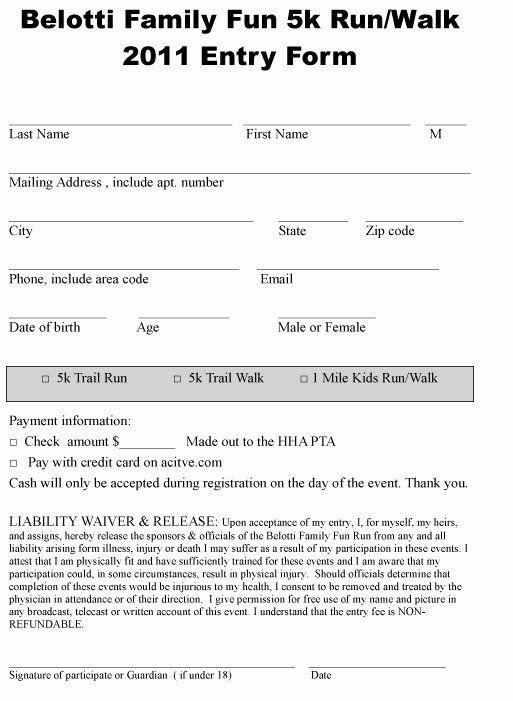 25 5k race registration form template in 2020  business