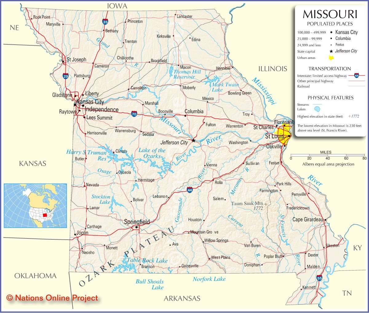 Reference Map of Missouri ROAD MAPS OF THE UNITED STATES