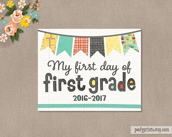 photo relating to First Day of 1st Grade Printable Sign called Initial Working day of 1st Quality Laptop Printable Signal - 8 x 10