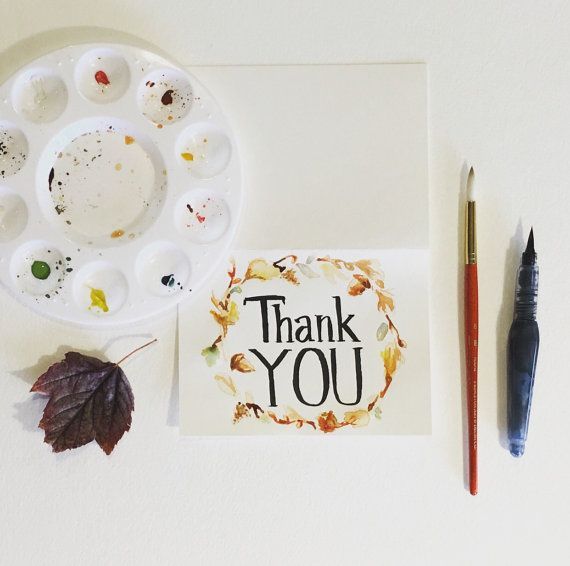 Watercolor Thank You Card  Hand Painted Original by SunshinyArt