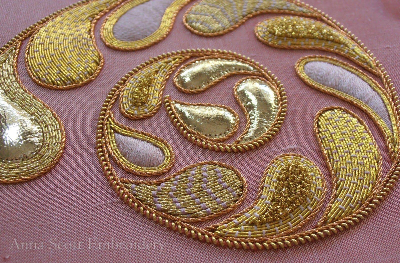 Nautilus Goldwork Embroidery ~ by Anna Scott#anna #embroidery #goldwork #nautilus #scott