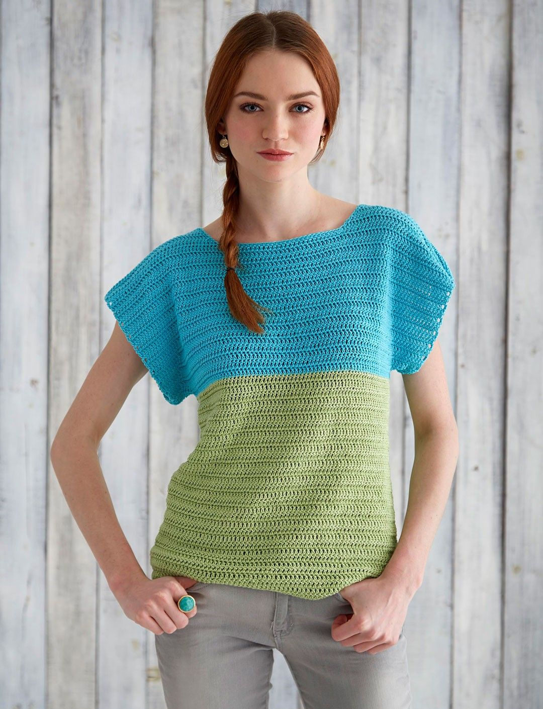 Free Pattern for crochet Colorblock Top - Patons Grace ...