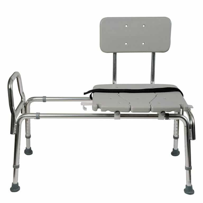 Tub Transfer Bench With Adjustable Height And Weight Capacity Of 400 Lbs Gray Transfer Bench