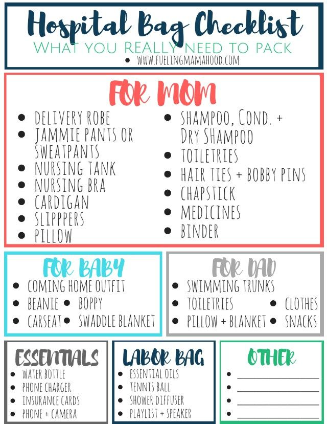 hospital bag checklist pinkblush {with free printable!} Fueling