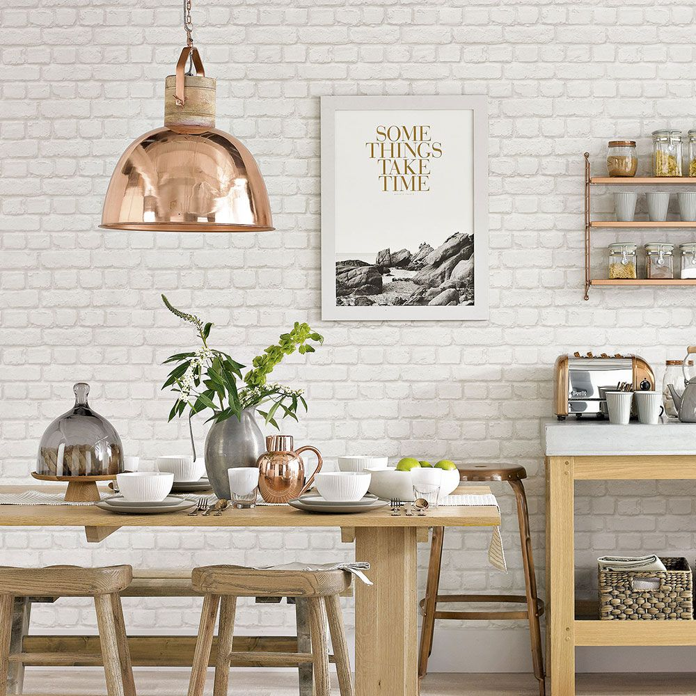 White Country Kitchen With Brick Effect Wallpaper