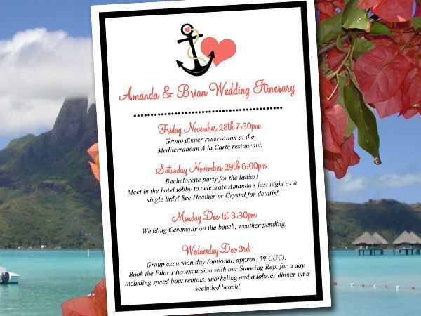 Beach Wedding Itinerary Template Wedding Planner Anchor Love Black