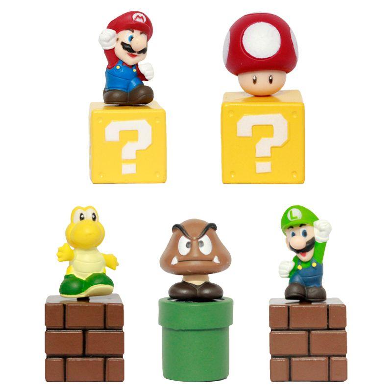 Super Mario Bros Mini Figures Bundle Blocks Mario Goomba Luigi