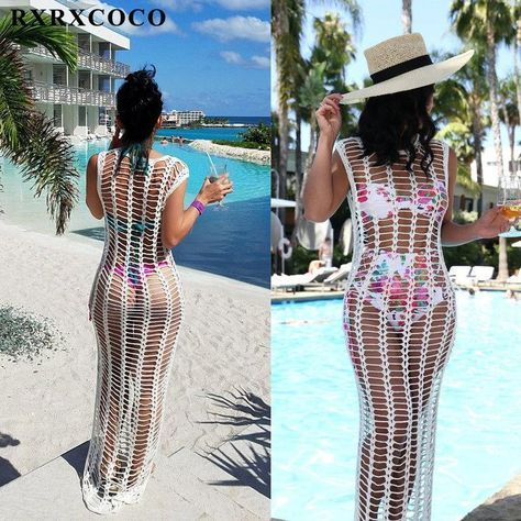 RXRXCOCO 2018 Summer Hot Sexy Beach Cover Up Swimwear Women Hollow Out Sleeveless Long White Bikini Cover Up Solid Beach Dress #summerswimwear