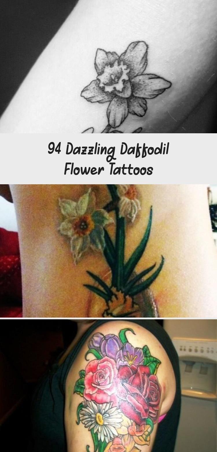 Pretty Daffodil Flowers Tattoo On Leg Siriusblacktattoo blacktattooCoverUp bl