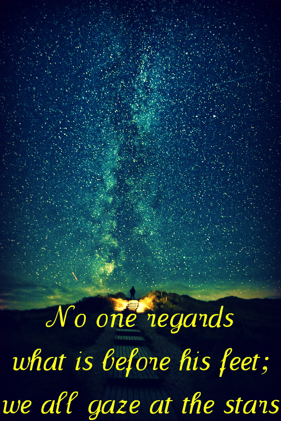 No one regards what is before his feet; we all gaze at the stars