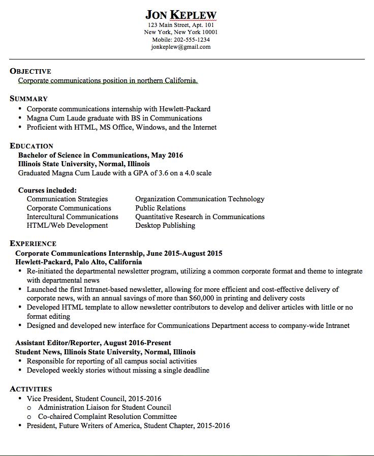Sample Resume Corporate Communications Examples Resume Cv