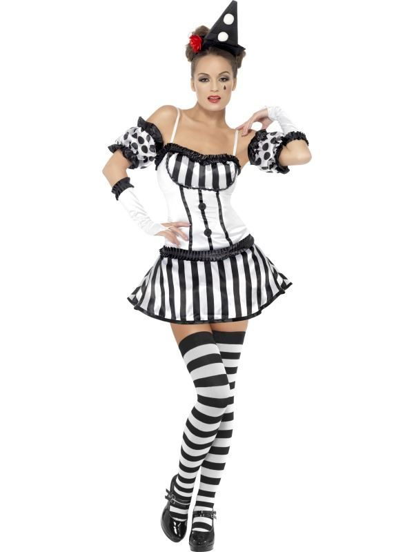 357006534d95c Details about LADIES FEVER CLOWN MIME DIVA COSTUME SEXY BLACK WHITE ...