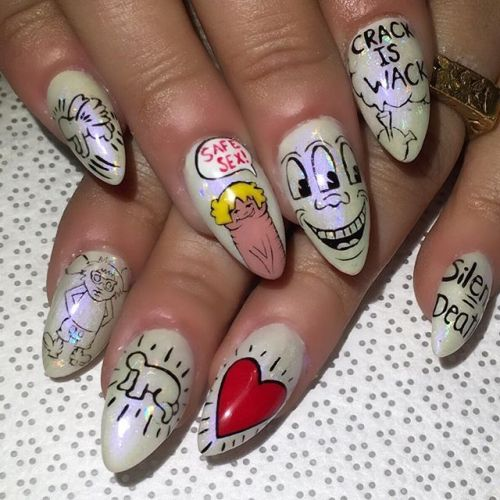 Celebrity Nail Salon: Keith Haring-inspired Nails By Celebrity Nail Tech Gina Oh