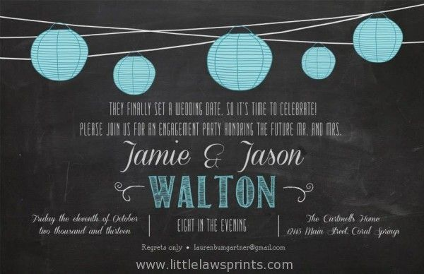 Paper Lantern Chalkboard Invitation Bridal Shower Birthday