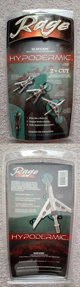 """New Rage Hypodermic 2 Blade Crossbow 100 Gr 2/"""" Cut Broadheads"""