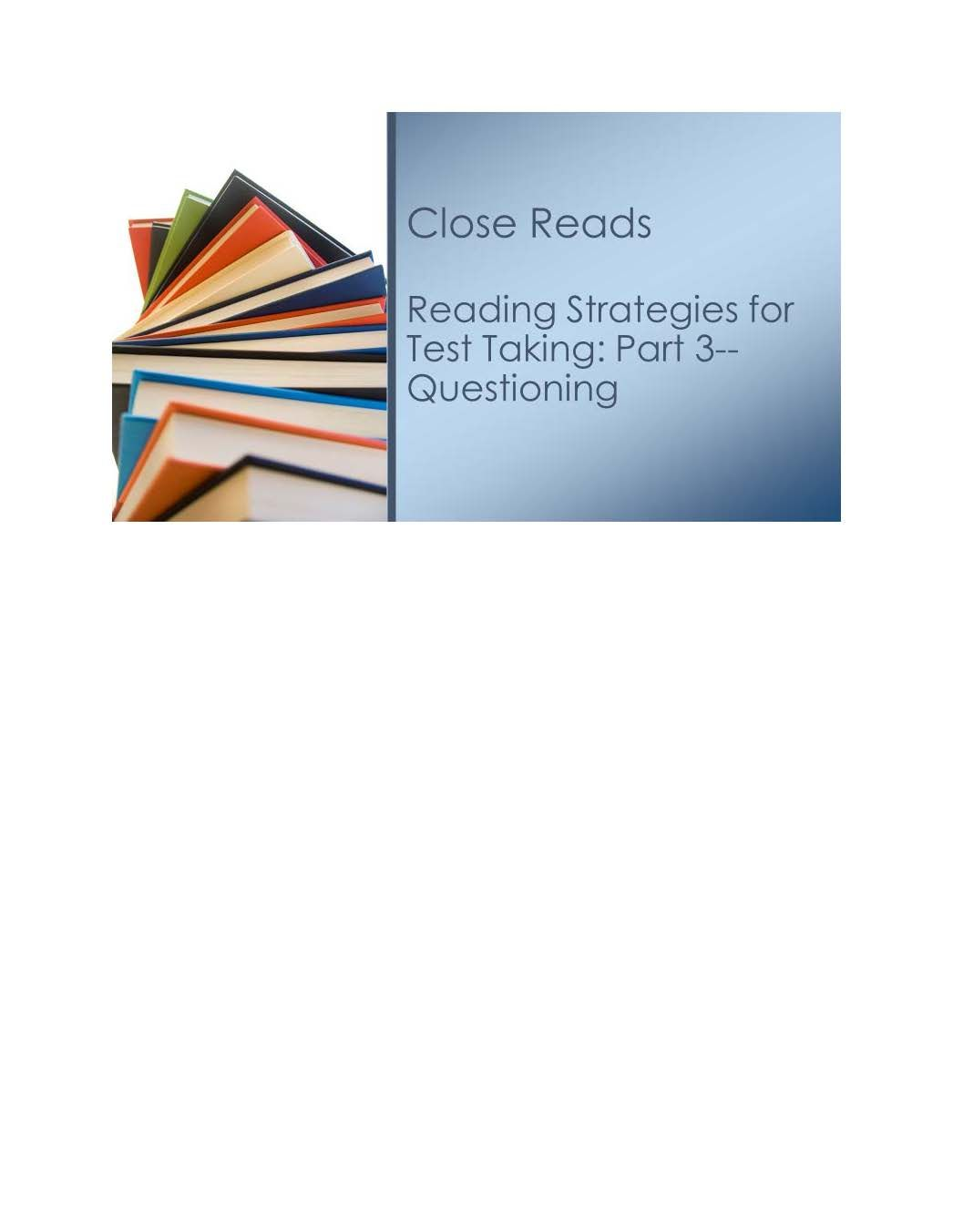 Close Reads Series For Grades 2 5
