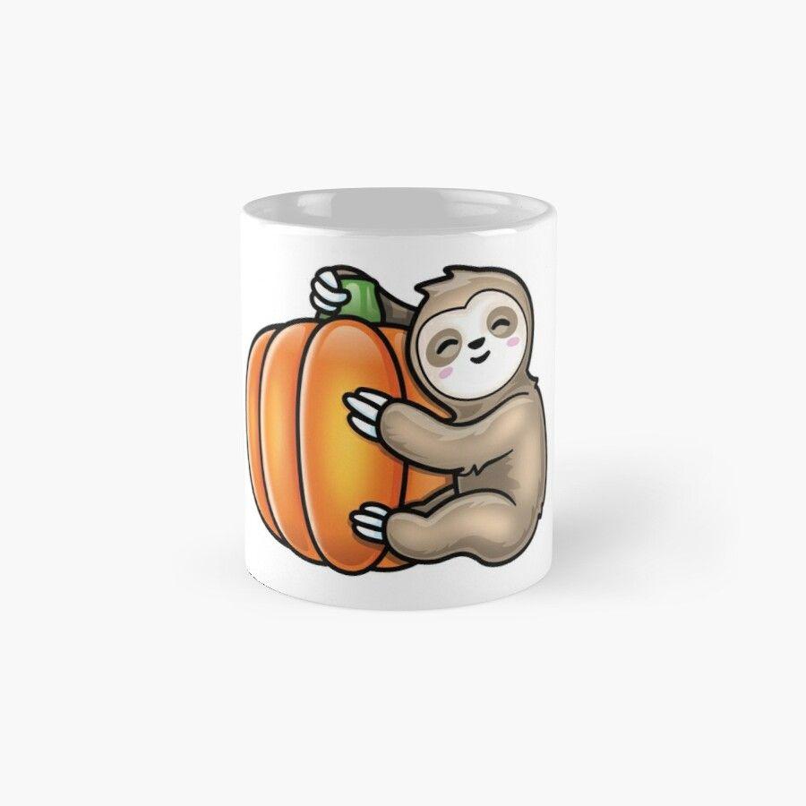 Cute Sloth Hugging A Pumpkin – Ceramic 11Oz Coffee Mug – Gift Idea For Family And Friends #cutesloth