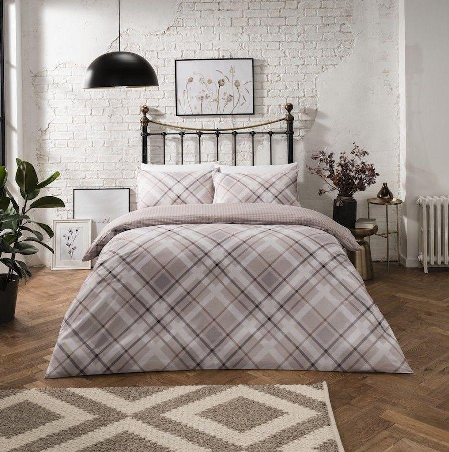 Diagonal Check Natural Printed Duvet Quilt Cover Bedding