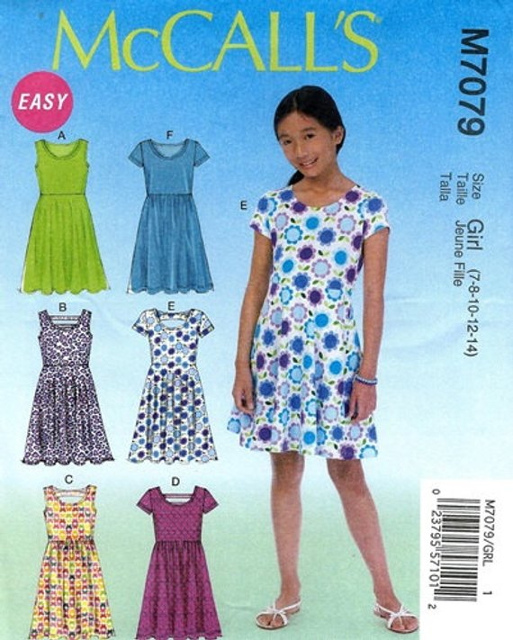 46197dfa883e GIRLS CLOTHES PATTERN! Make Dress - Sundress / Summer Clothes / Sizes 7 to  14 or 10 1/2 to 16 1/2